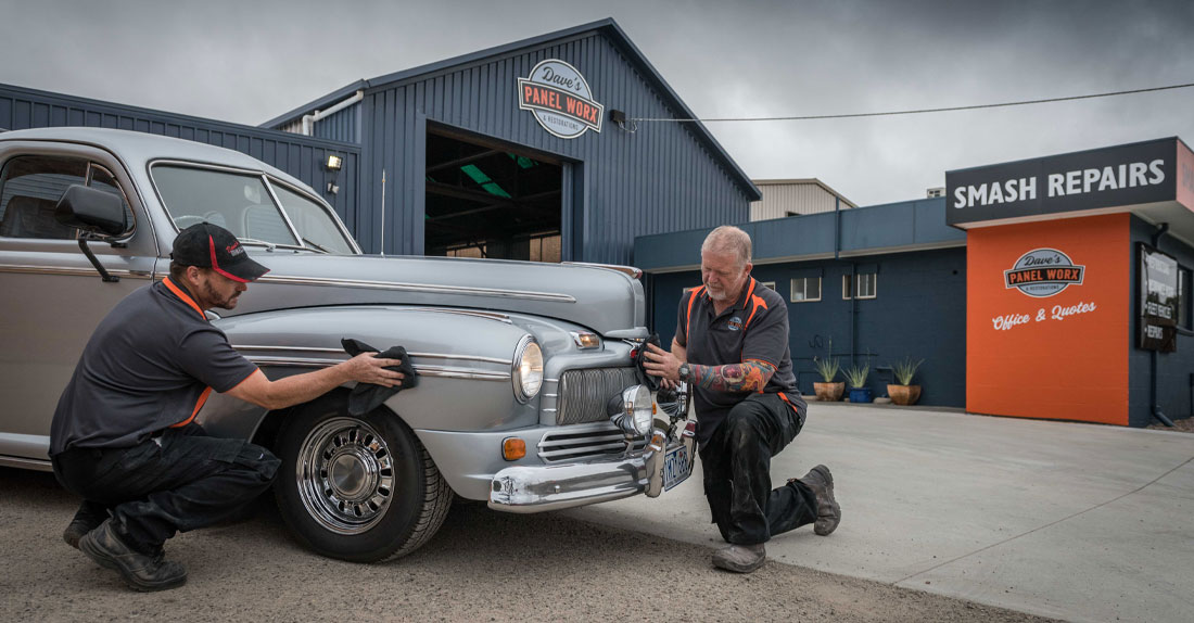 Polishing a restored Mercury Eight at Daves Panel Worx
