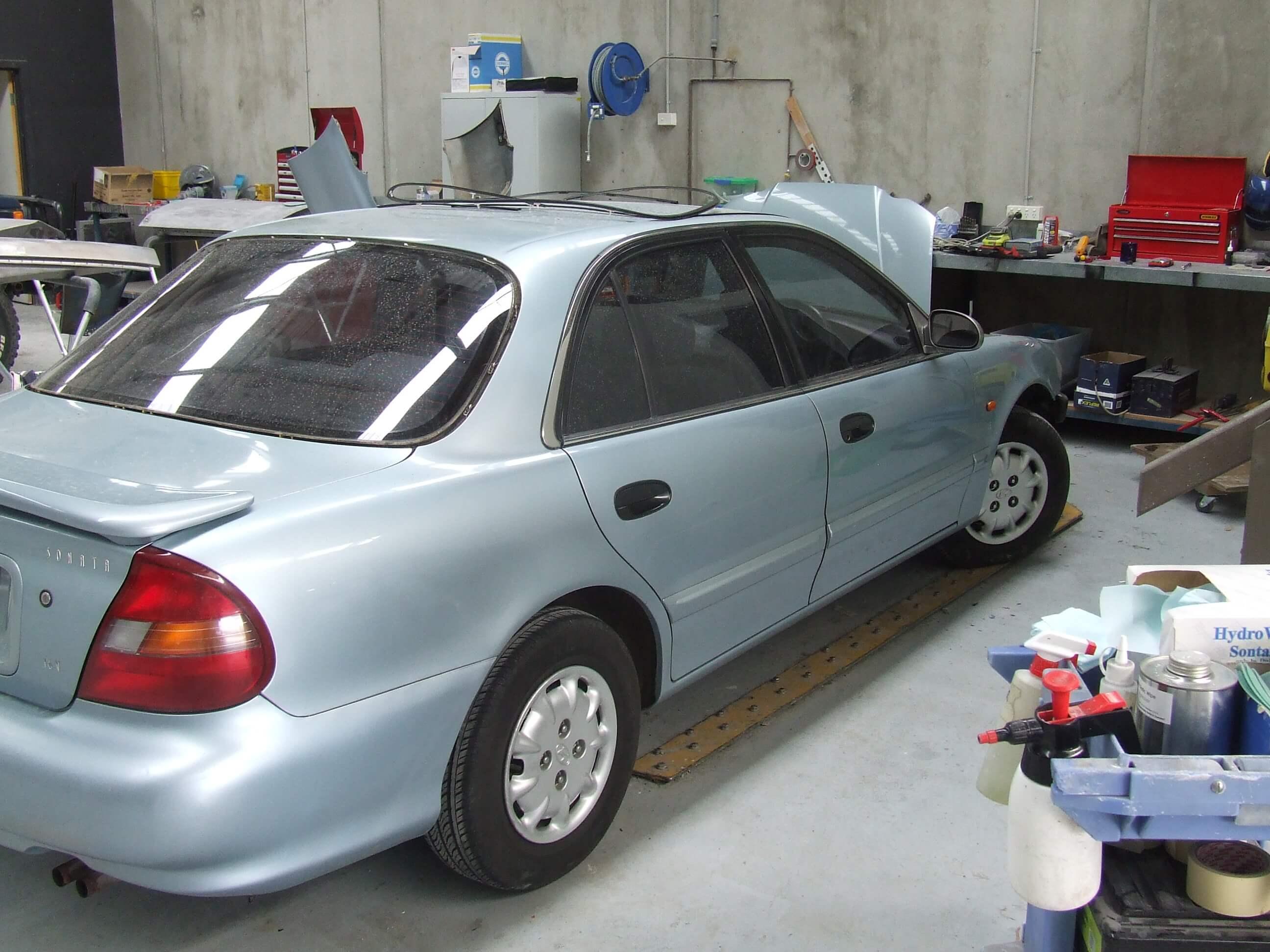 Hyundai Sonata being prepared for respray
